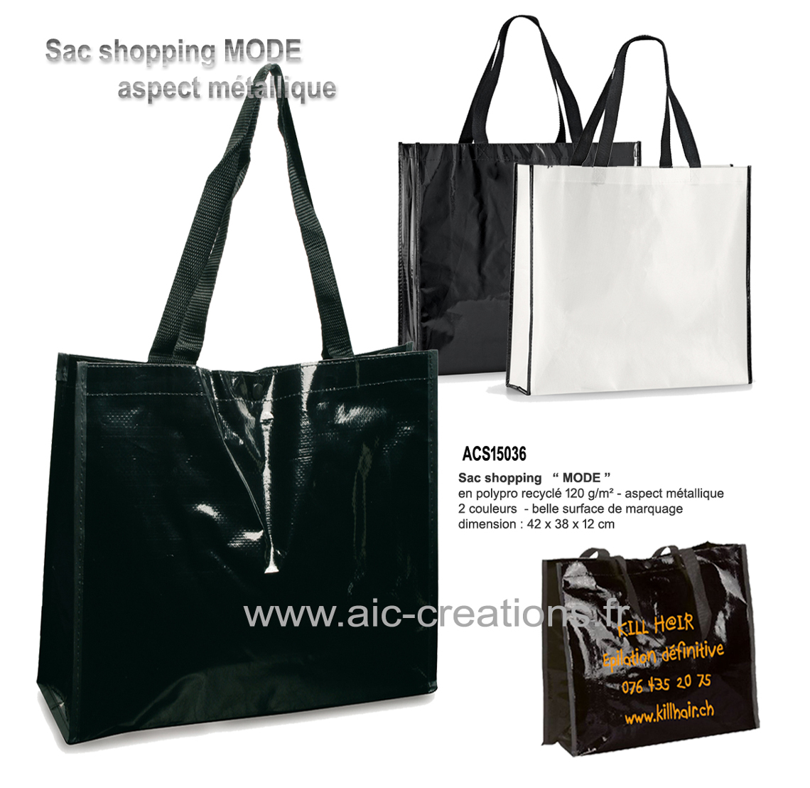 bagagerie publicitaire, sac shopping bio aspect metallique, developpement durable sac shopping MODE, sac boutique, grande surface de marquage