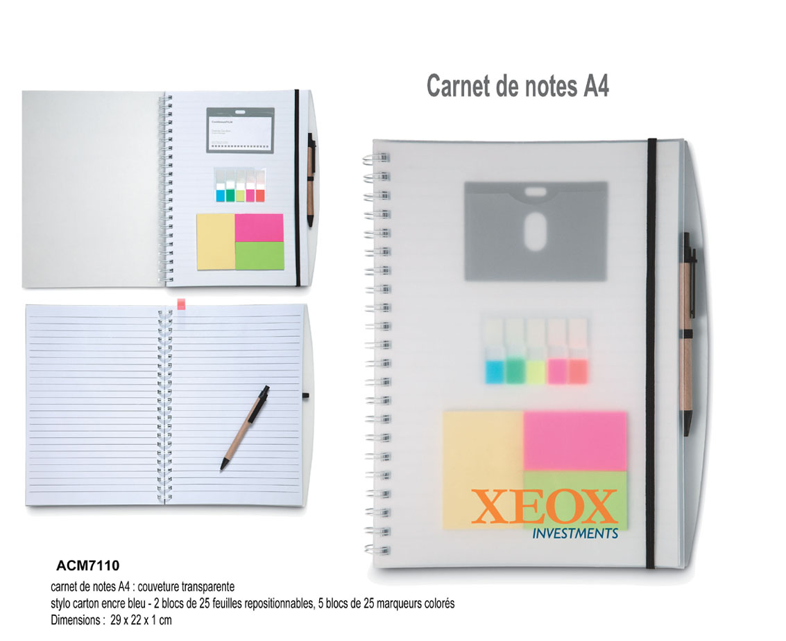carnet de notes A4 couverture transparente personnalisable, article de bureau, carnet de notes publicitaires, bloc-notes publicitaires