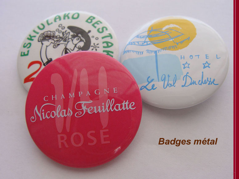 badges publicitaires, badges métal