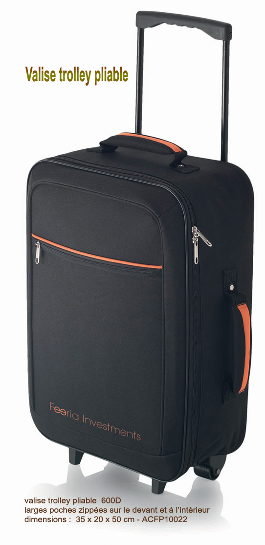 bagagerie publicitaire, valise trolley pliable, trolley publicitaire, gagage publicitaire, cadeaux d'affaires