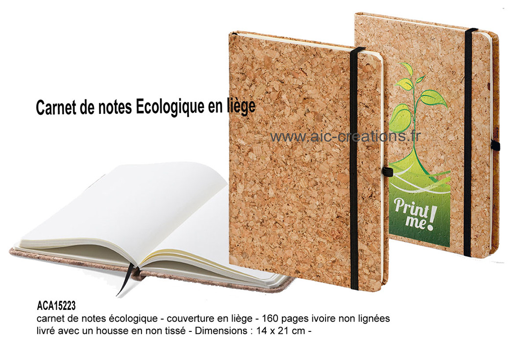 carnet de notes en lège format A5, bloc notes ecologique, développement durable, bloc notes ecologique liege
