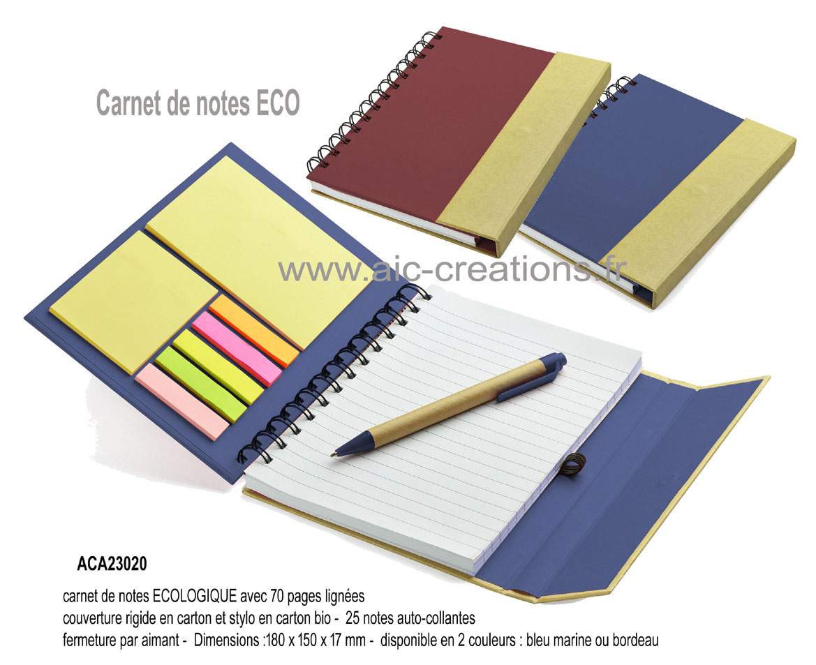 carnet de notes en carton avec notes auto-collantes, carnet de notes publicitaire, bloc-notes avec couverture rigide aimantée, stylo bio et post'il, articles de bureau, objets publicitaires