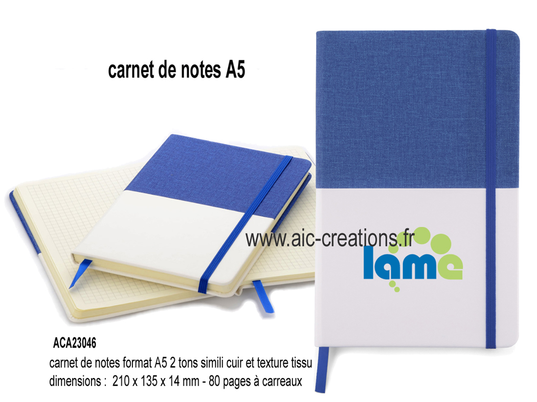 un carnet de notes original 2 tons en simili cuir et texture de papier, bloc notes publicitaires, cadeaux d'affaires