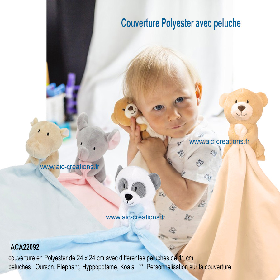 couverture polyester avec peluches publicitaires, peluches avec couverture ourson, elephant, koala, hyppopotame en peluche, peluches publicitaires personnalisables