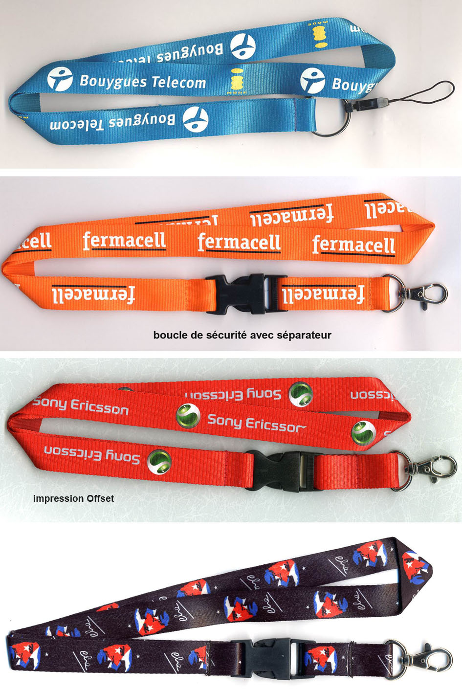 lanyards publicitaires, fabricant lanyards, lanyards polyester, lanyards tissu, objets publicitaires, fabricant importateur