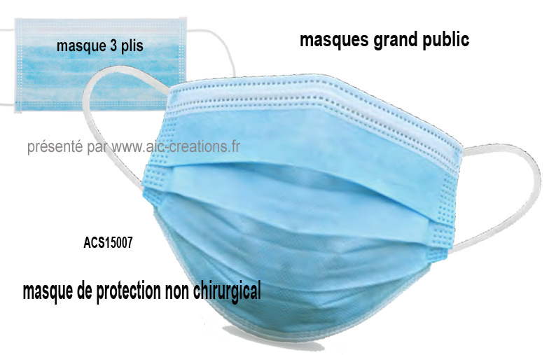 masque de protection non chirurgical 3 plis, masques grand public, masque publicitaire protection COVID19