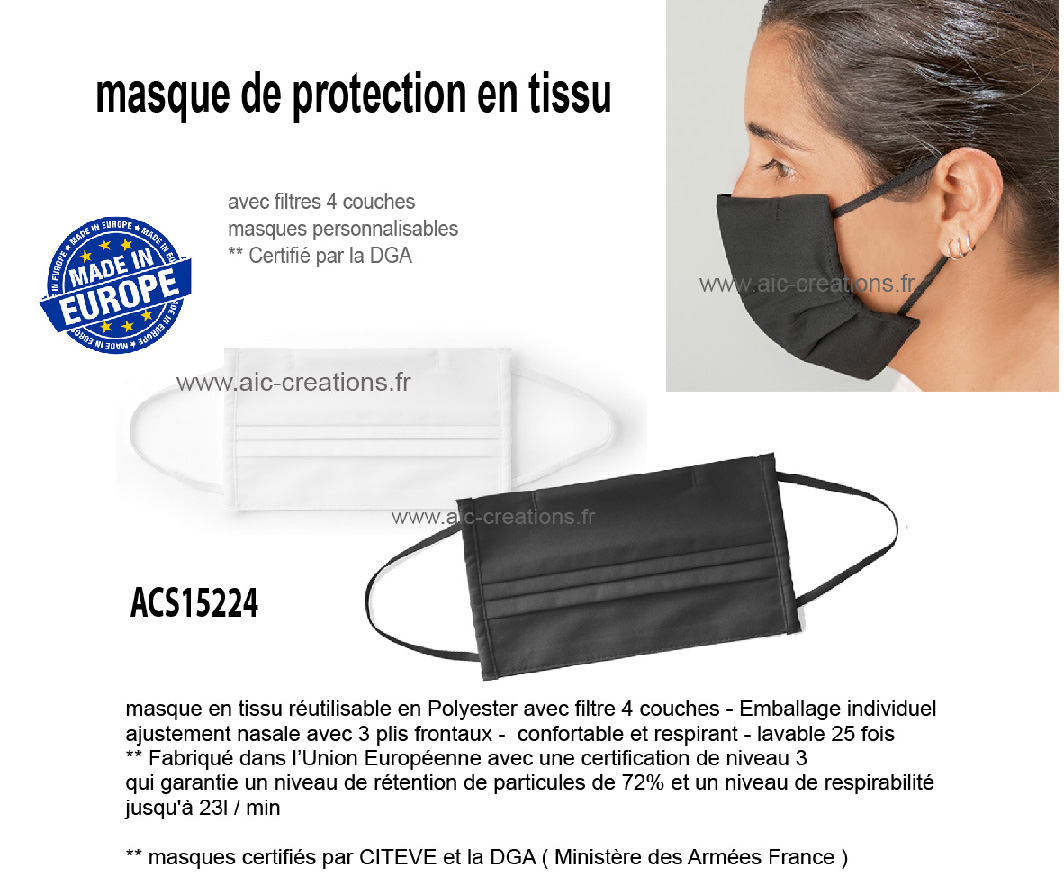 masques de protection en tissu 4 couches, protection du COVID