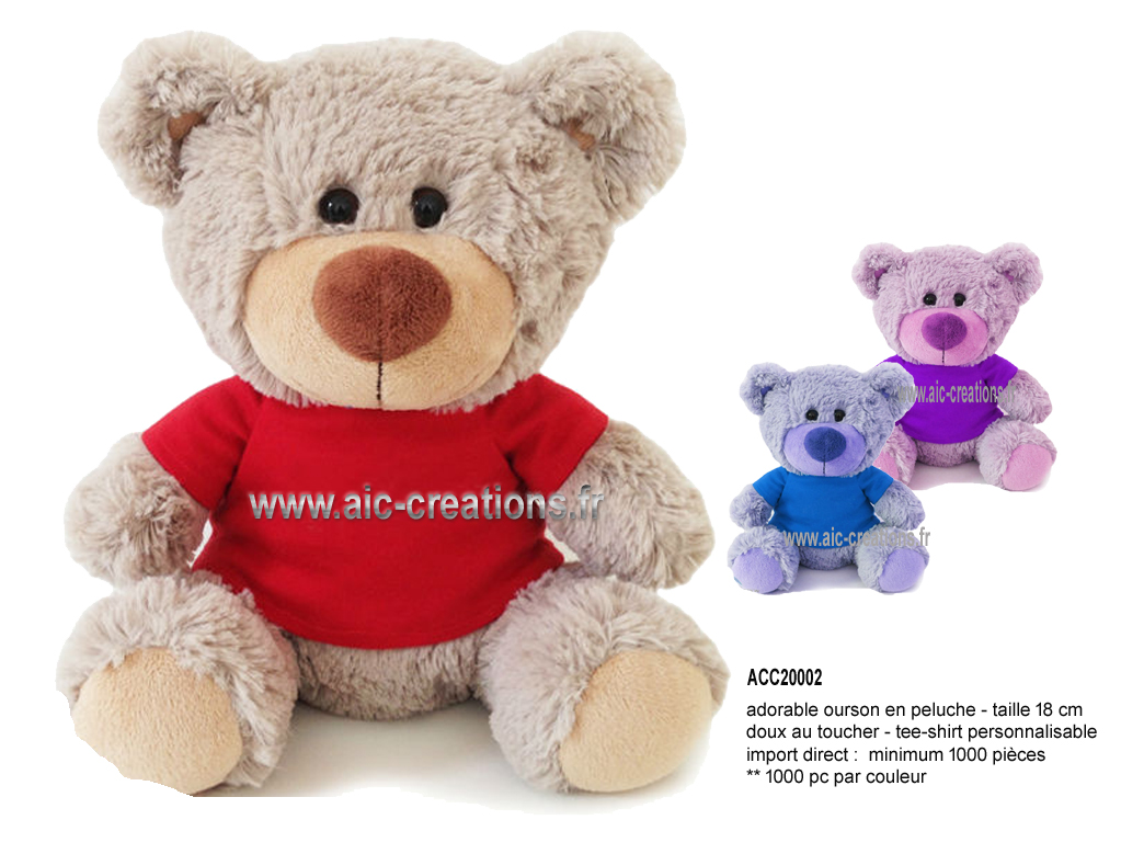 ours en peluche, peluches publicitaires, ourson en peluche minimum 1000 pc